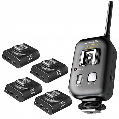 Interfit Strobie Titan-Pro Transceiver + 4 X Interfit STR129 iSync 4 Receiver (SET)